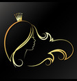 girl with a gold crown on his head vector image