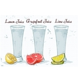 Glasses of juices on a notebook page vector image vector image