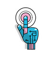 hand with finger touch and circuits digital vector image vector image