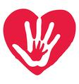 Hands Inside Big Red Heart vector image
