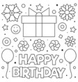 happy birthday present coloring page vector image vector image