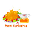 happy thanksgiving turkey meal dish poster vector image vector image