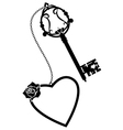 heart rose and old key vector image