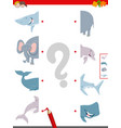 join halves of animals pictures activity game vector image vector image