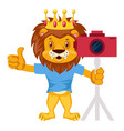 lion with camera on white background vector image vector image