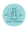 medieval tower label vector image vector image