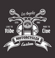 motorcycle emblem with ribbon for text vector image vector image