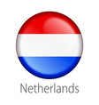 netherlands round button flag vector image vector image