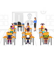 pupils sitting desks looking at female teacher vector image vector image