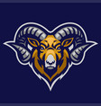 ram mascot head with big horn vector image vector image