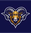 ram mascot head with big horn vector image vector image