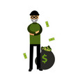 robber character standing with folded arms and big vector image vector image