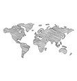 scribble sketch world map vector image