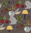 seamless forest pattern with cute color vector image