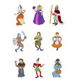 set cute colorful medieval characters vector image vector image