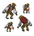 set fantasy zombie monkey isolated on white vector image
