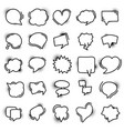 set hand drawn speech bubble icons with vector image vector image