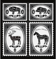set of postage stamps with boar bison deer horse vector image vector image