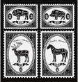 set postage stamps with boar bison deer horse vector image vector image