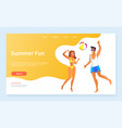 summer fun vacation couple playing volleyball vector image vector image