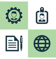 trade icons set collection of id badge leader vector image vector image
