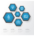 trade outline icons set collection of whiteboard vector image vector image