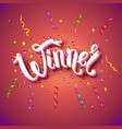 winner card stationery template in red vector image vector image