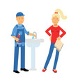 young woman standing with proffesional plumber vector image