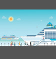cruise ship anchored at sea port with cruise vector image