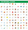 100 brumal icons set cartoon style vector image vector image