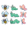 A caterpillar a butterfly and a bee vector | Price: 1 Credit (USD $1)