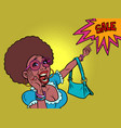 african woman shouts discount sale the buyer vector image vector image