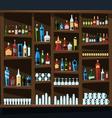 Alcohol shelf background full of bottles vector image