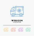 ambulance truck medical help van 5 color line web vector image vector image