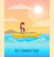 best summer time pposter kayaking girl sits in vector image vector image