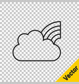 black line rainbow with clouds icon isolated on vector image vector image