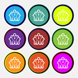 business team icon sign Nine multi colored round vector image vector image