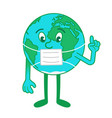 cartoon character earth in medical mask vector image