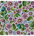 cartoon cute hand drawn spring seamless pattern vector image vector image
