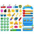 cartoon mobile game user interface kit elements vector image vector image