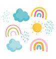 cartoon rainbows sun clouds rain sky icons vector image vector image