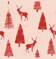 christmas forest landscape seamless wrapping vector image