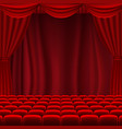 cinema screen with red curtains vector image vector image