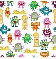 Colored cartoon monsters seamless pattern vector image