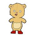 comic cartoon happy teddy bear in boots vector image