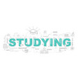 design concept of word studying website banner vector image vector image