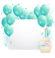 empty card with cupcake and balloons vector image vector image