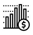 financial graph chart and coin dollar icon vector image vector image