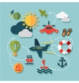 flat summer vacation icons vector image