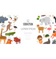 flat zoo animals template vector image vector image